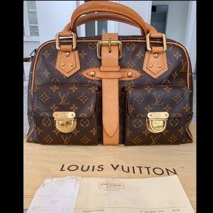 Louis Vuitton Manhattan Handbag Gm Brown Monogram